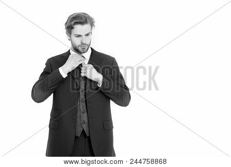 Fashion And Beauty. Business And Success. Man In Formal Outfit Isolated On White. Businessman Or Ceo
