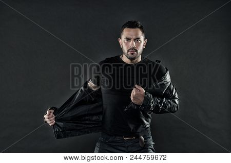 Man With Beard On Unshaven Face. Bearded Man Undress Leather Jacket. Fashion Model In Casual Style C