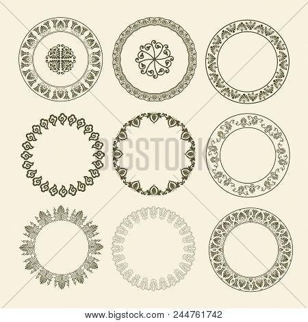 Greek National Antique Round Pattern. Circle Ornament Meander. Round Frame
