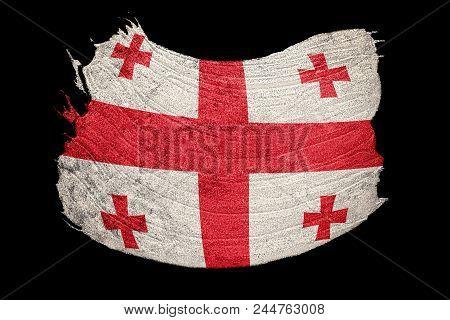 Grunge Georgia Flag. Georgia Flag With Grunge Texture. Brush Stroke.