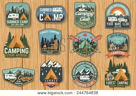 Set Of Summer Camp Badges On The Wood Board. Vector. Concept For Shirt , Print, Stamp, Travel Badges