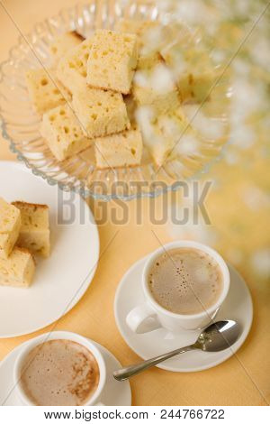 Homecooking Banoffee With Coffee. Banana Biscuits Squares. Selective Focus.