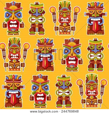Multi-colored Tiki Totem Poles. Hawaii. Seamless Background Pattern. Vector Illustration