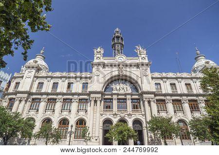 Valencia,spain-may 9,2018: Classic Building, Correos Y Telegrafos In City Center Of Valencia.