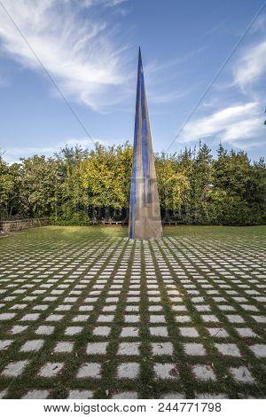 Barcelona,spain-november 28,2011: Modern Sculpture Agulla,needle By Tom Carr In Montjuic Park, Barce