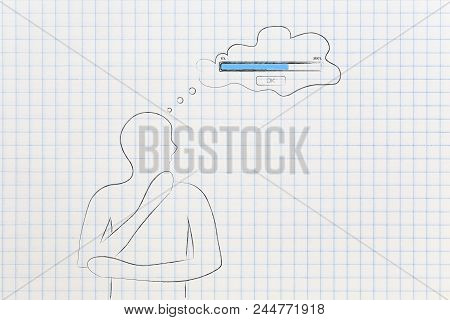 Thoughts And Memory Conceptual Illustration: Doubtful Man And Comic Bubble With Progress Bar Loading