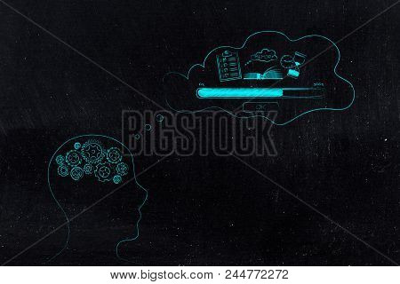 Thoughts And Memory Conceptual Illustration: Person With Gearwheel Mind With Memory Loading Icon Mad