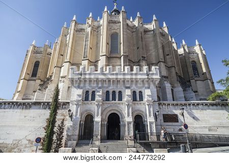 Madrid,spain-july 21,2015: Historic Religious Building, Cathedral La Almudena, Madrid.