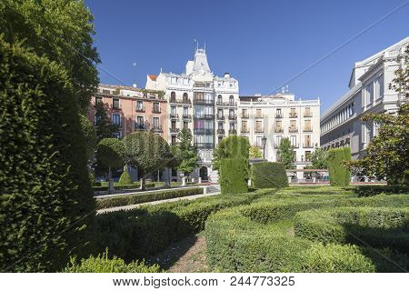 Madrid,spain-july 21,2015: Gardens, Square View, Plaza De Oriente, Madrid.
