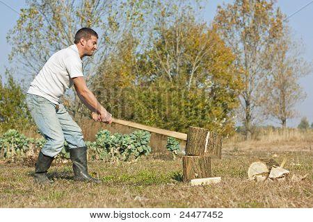 Male Splitting Logs