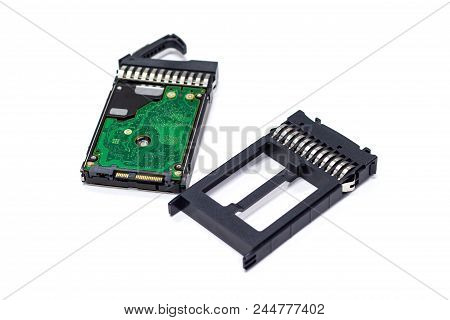 "3.5"" SATA SAS HDD Hard Drive Tray with Hard disk for server isolated white background poster"
