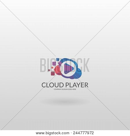 Multicolored Player Logo Template. Media Player Logotype