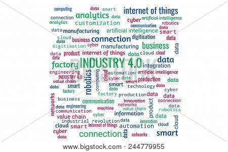 Industry 4.0 Concept As Word Collage Or Word Cloud, Rectangle, Words In Green, Blue, Red
