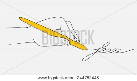 Hand Holding A Yellow Pen. Hand Drawn Signature. Vector Flat Linear Illustration. Vector Illustratio