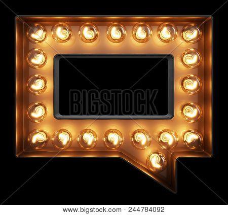Light Bulb Glowing Speech Bubble Message Mark Sign. Front View Illuminated Glow Classic Lamp Speech