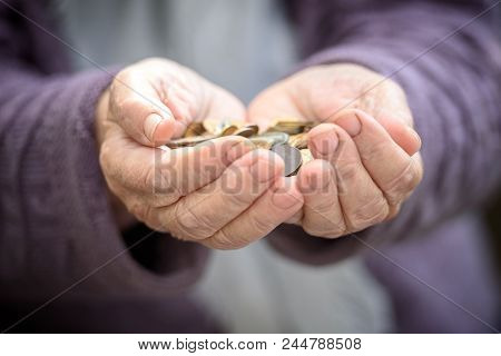 Money, Coins, The Grandmother On Pension And The Concept Of Life, Minimum - In Hands Old A Handful O