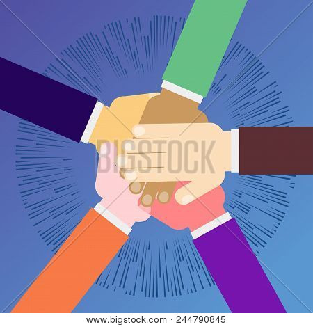Unity Concept. Human Hands With Open Palms. Symbol Of Teamwork, A Public Association. Flat Vector Ca