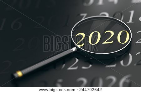 3d Illustration Of Year 2020 Written In Golden Letters And A Magnifying Glass Over Black Background