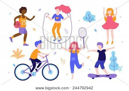 Children Activities. Set Of Kids Doing Sports, Riding The Bicycle, Playing Basketball, Jogging, Jump