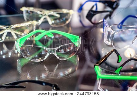 Set Of Goggles For Workers. Safety Glasses For Protect And Safe Eyes