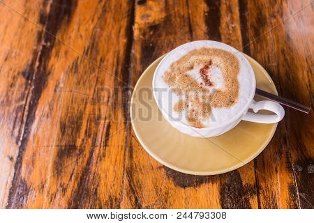 Local And Simple Fresh Coffee On Wooden Table, Street Coffee Shop