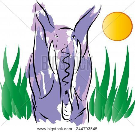 Elephant  Illustration Of Standing Colorful Elephant Leaf Background.