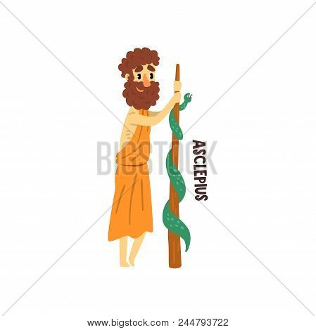 Asclepius Olympian Greek God, Ancient Greece Mythology Character Vector Illustration Isolated On A W