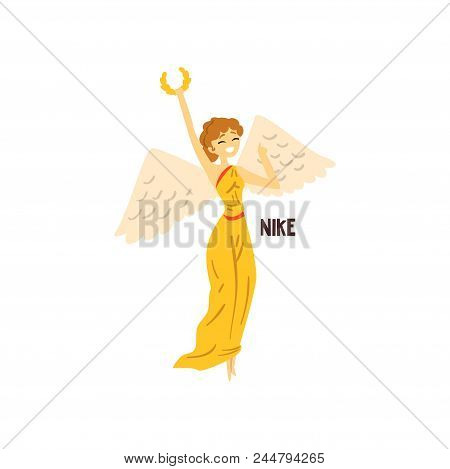 Nike Olympian Greek Goddess, Ancient Greece Mythology Character Vector Illustration Isolated On A Wh