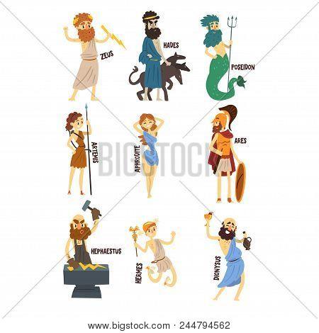 Olympian Greek Gods Set, Dionysus, Hermes, Hephaestus, Zeus, Hades, Poseidon, Aphrodite, Artemis Anc