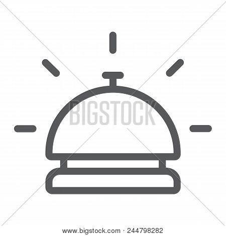 Hotel Bell Line Icon, Travel And Hotel, Reception Sign Vector Graphics, A Linear Pattern On A White