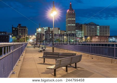 Rochester, Ny - May 14, 2018: Skyline Of Rochester, New York Along The Pont De Rennes Pedestrian Bri