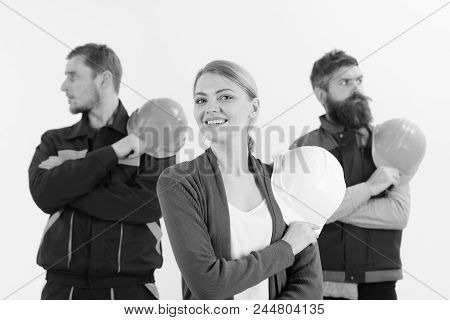 Cheerful Collective Concept. Team Of Architects, Builders Ready To Work, Isolated White Background.