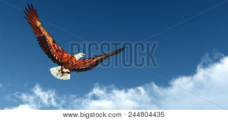 Eagle flying above the clouds - 3D rendering