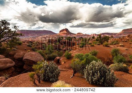 Amazing View Of The Landscape And Rock Formations Of Grand Staircase-escalante National Monument Wit