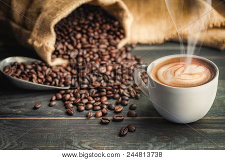 Coffee Cup And Coffee Beans With Bag, Scoop And Smoke - Classic Concept.