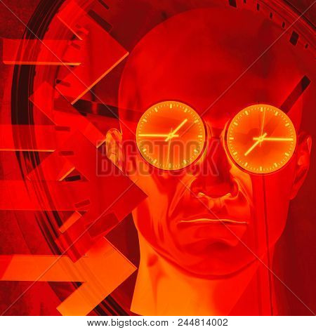 Time Concept 3D Illustration: Human Head  and Time