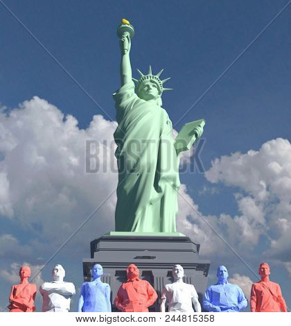 Low poly 3d American symbol Statue of Liberty red white blue people on cloudscape
