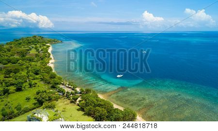Aerial view of north Bali coastline at Pemuteran, Indonesia