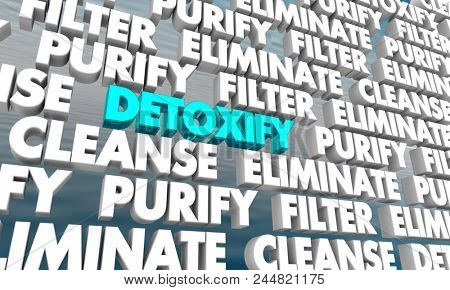 Detoxify Purify Cleanse Wall of Words 3d Render Illustration poster