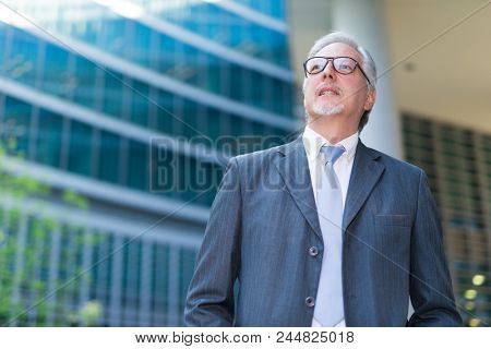 Confident senior businessman in front of his office