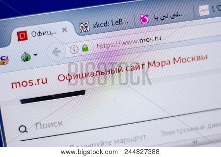Ryazan, Russia - June 05, 2018: Homepage Of Mos Website On The Display Of Pc, Url - Mos.ru