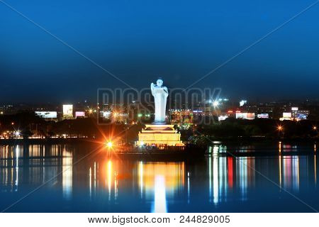 Hyderabad, INDIA - December 17 : Buddha statue in Hyderabad,India is largest monolithic statue in the world, on December 16,2015 Hyderabad, India