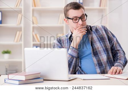 Young student studying over internet in telelearning concept