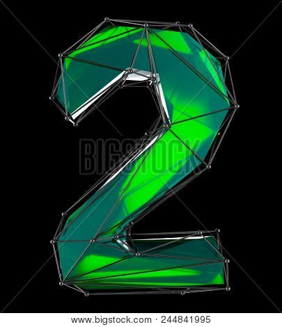 Number 2 two in low poly style green color isolated on black background. 3d rendering