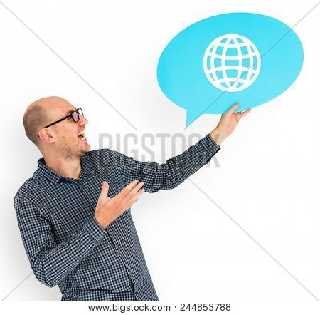 Happy man holding WWW symbol