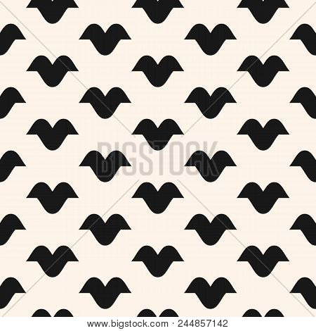 Funky Vector Seamless Pattern With Curved Shapes, Bird Silhouettes. Abstract Monochrome Geometric Te