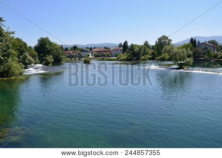 Bihac With Una River. Bosna And Hercegovina.