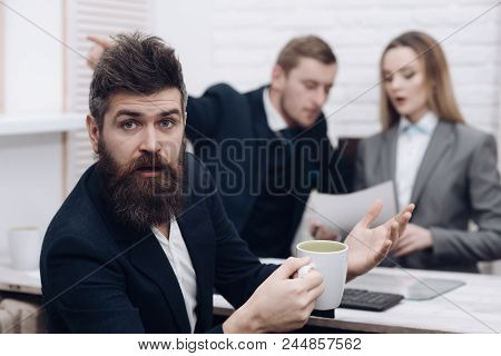 Business Partners Or Businessman At Meeting, Office Background. Negotiations Concept. Business Negot
