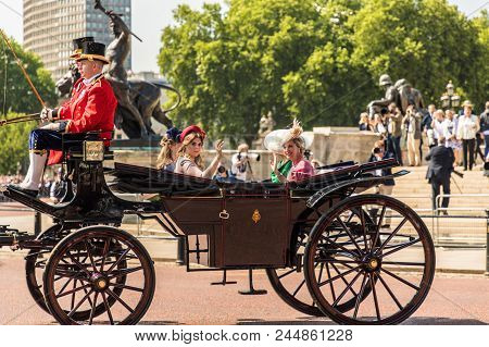 London. June 9 2018. A View Of The Royal Carriage Carrying Members Of The Royal Family Princess Beat
