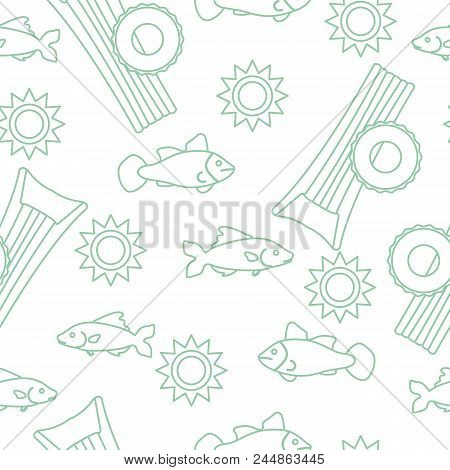 Seamless Pattern With Inflatable Mattress, Inflatable Circle. Summer Leisure.